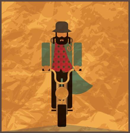 Man riding a motorcycle, vintage poster Vector