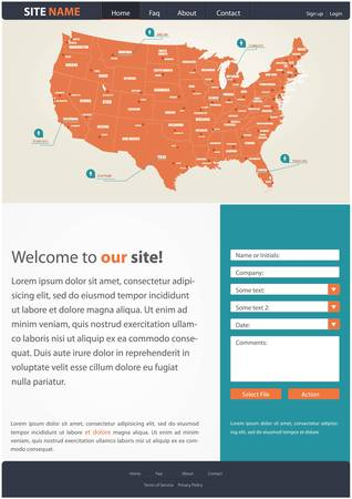 Website template for business presentation, with a map of USA and contact form Imagens - 20140913