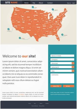Website template for business presentation, with a map of USA and contact form Ilustração