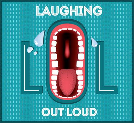Laughing Out Loud - LOL popular expression illustrated Vector