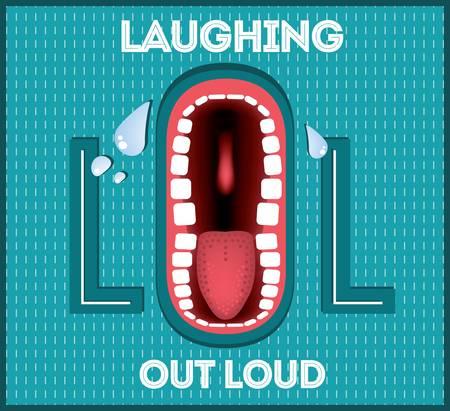 Laughing Out Loud - LOL populaire uitdrukking geïllustreerd Stock Illustratie