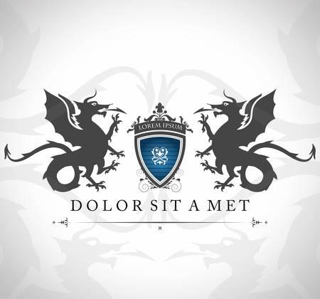 гребень: Урожай эмблема с драконами с местом для вашего текста Иллюстрация