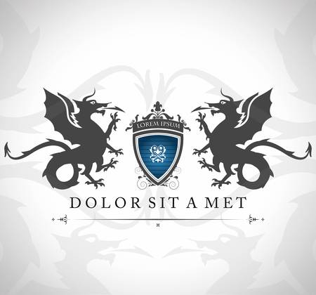 dragones: Emblema de la vendimia con los dragones con un lugar para su texto Vectores