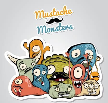 Mustache Monsters Ilustração
