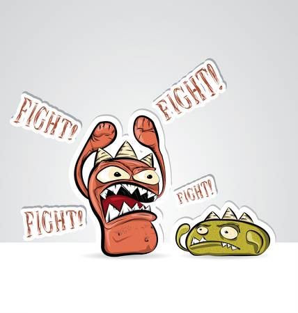 Funny characters fighting