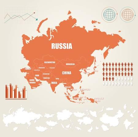 Illustration vectorielle Infographie avec la carte de l'Asie