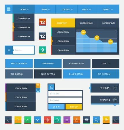 Flat user interface design kit  Vector