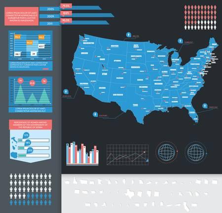Infographic vector illustratie met Kaart van de VS Stock Illustratie