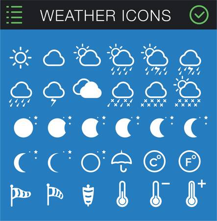 Modern Thin Weather Icons Set - 30 icons  Vector