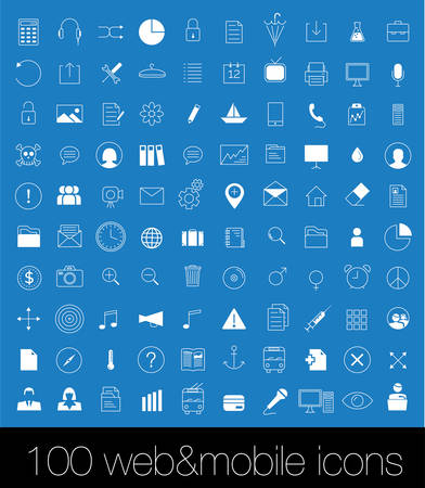 100 Icons For Web and Mobile Imagens - 28460991