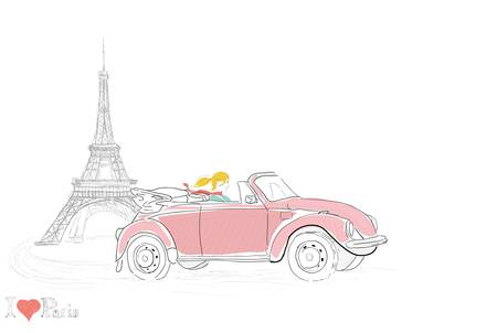 woman driving: Young woman driving through Paris Illustration