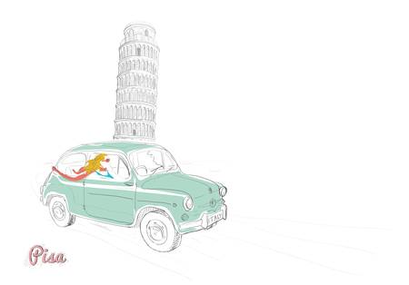 car ornament: Beautiful woman driving through Pisa  Illustration