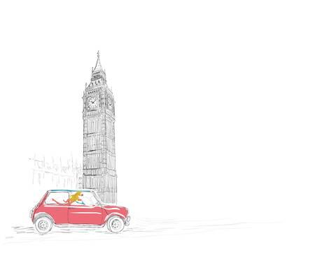 Beautiful woman driving through London  Ilustração