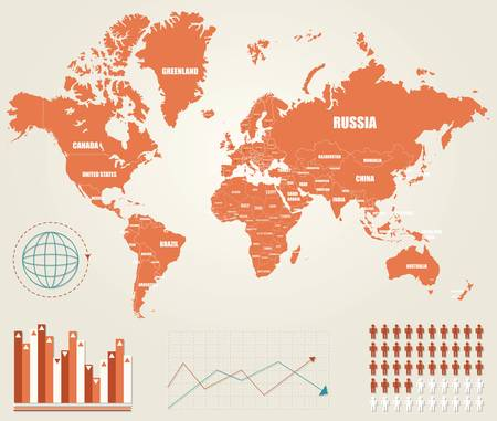 Infographic vector illustration with Map of the World Vector