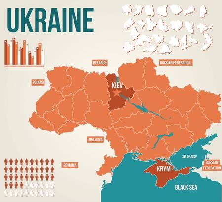 chernobyl: Ukraine political map - vector map