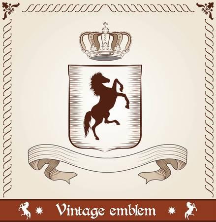 Vintage emblem with horse