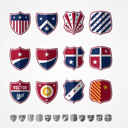 set of twelve colored emblems
