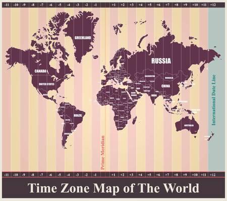 mapa politico: Mapa del mundo con las zonas horarias estándar Vectores