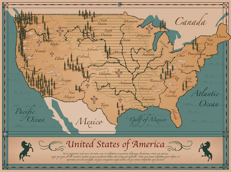 colorado mountains: Antique Map of  United States of America