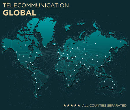 asia pacific: Map of Global Telecommunications (All countries separated)