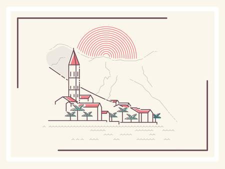 ciudad mediterránea - ilustración vectorial minimalista