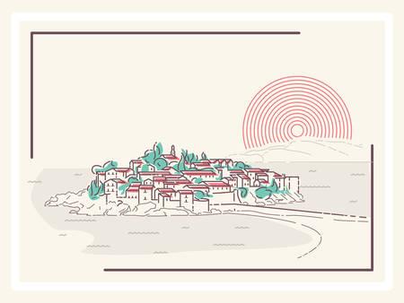 picturesque: Picturesque Mediterranean Town - minimalistic vector illustration