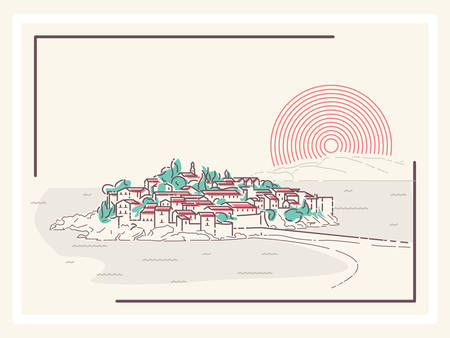 beach panorama: Picturesque Mediterranean Town - minimalistic vector illustration