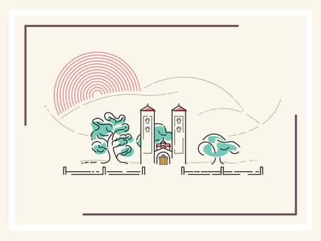 minimalistic: Church - minimalistic vector illustration