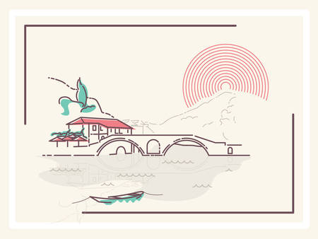 french countryside: Village by the Bridge - minimalistic vector illustration