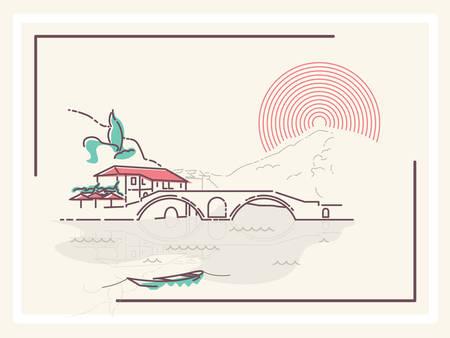 Village by the Bridge - minimalistic vector illustration