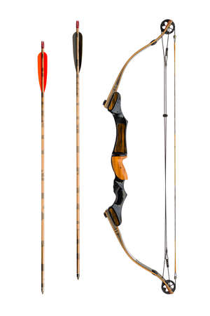 bow and arrow: compound bow and arrows isolated on white