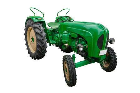 green tractor isolated on white Stock Photo