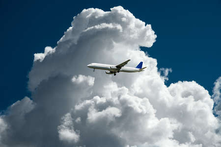 composing: air plane with thunder storm clouds composing