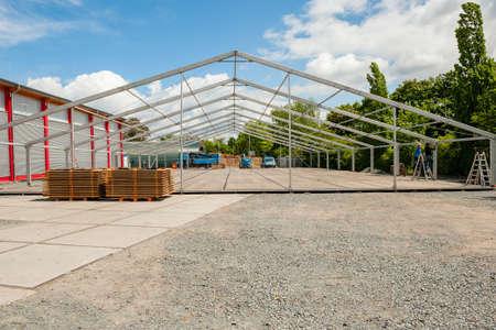 erecting: erecting a large pavilion