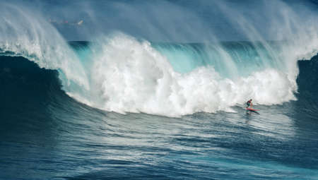 maui: unknown surfers at jaws maui hawaii december 2014 Editorial