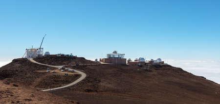 maui: MAUI, HAWAII, USA - DECEMBER 12, 2014: construction site of new obsevatory at haleakala crater