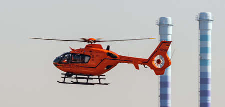 rescue helicopter: FRANKFURT, HESSEN, GERMANY-MARCH 9, 2014: rescue helicopter in action