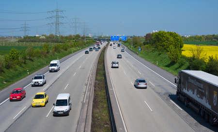 HATTERSHEIM, HESSEN, GERMANY-APRIL 23, 2015: highway A 66 between frankfurt main and wiesbaden