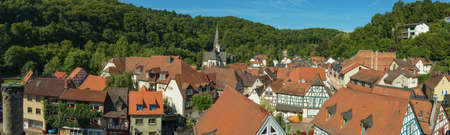 hessen: EPPSTEIN, HESSEN, GERMANY-JULY 18, 2014: panorama of the historic center of eppstein