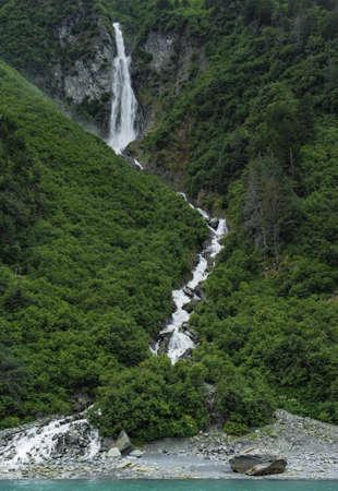 eye catcher: waterfall at the roadside outside valdez alaska