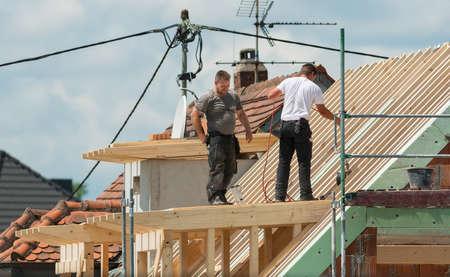 Francoforte, Hessen, Germania-22 giugno, 2016: Casa in costruzione