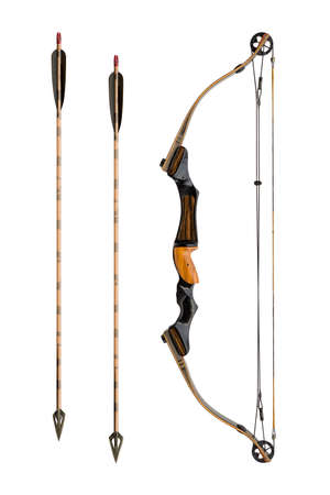 release: compound bow with hunting arrows isolated on white