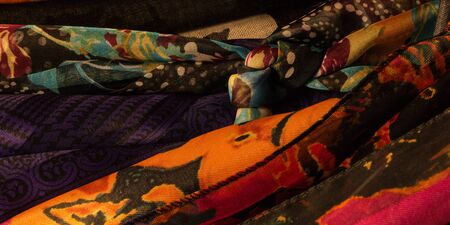Closeup of a group of women's scarves in a closet Banque d'images