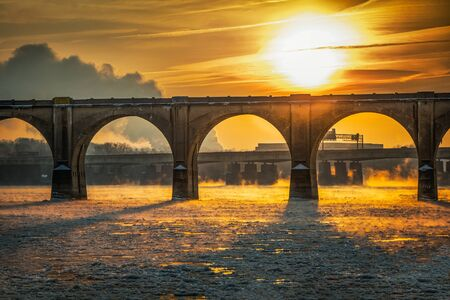 A blazing sun roars over an ice-filled Susquehannah River in Harrisburg, PA
