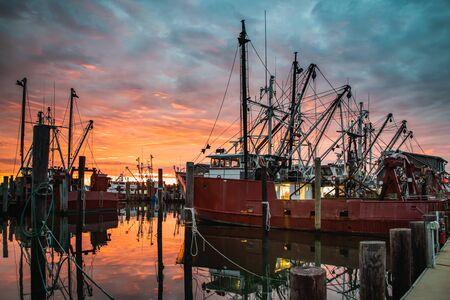 Fishing fleet under a glorious sunrise at Viking Village in Barnegat Light, NJ Imagens