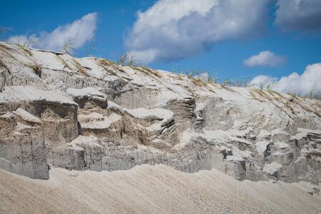 A shot of eroded sand dunes in Holgate, NJ after a storm