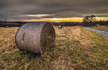 Hay rolls provide the subject in a field of hay next to Blue Marsh Lake at sunrise in eastern Pennsylvania