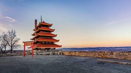 Panoramic view of the Reading Pagoda overlooking the city in early spring