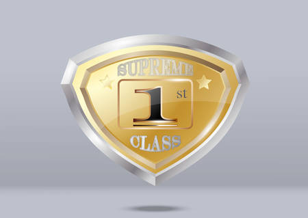 Golden shield shiny with white background, supreme first class.