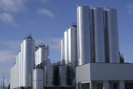 brewery: Silos on a Beer plant Stock Photo